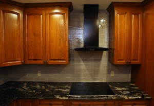 Upper cabinets and range hood sized